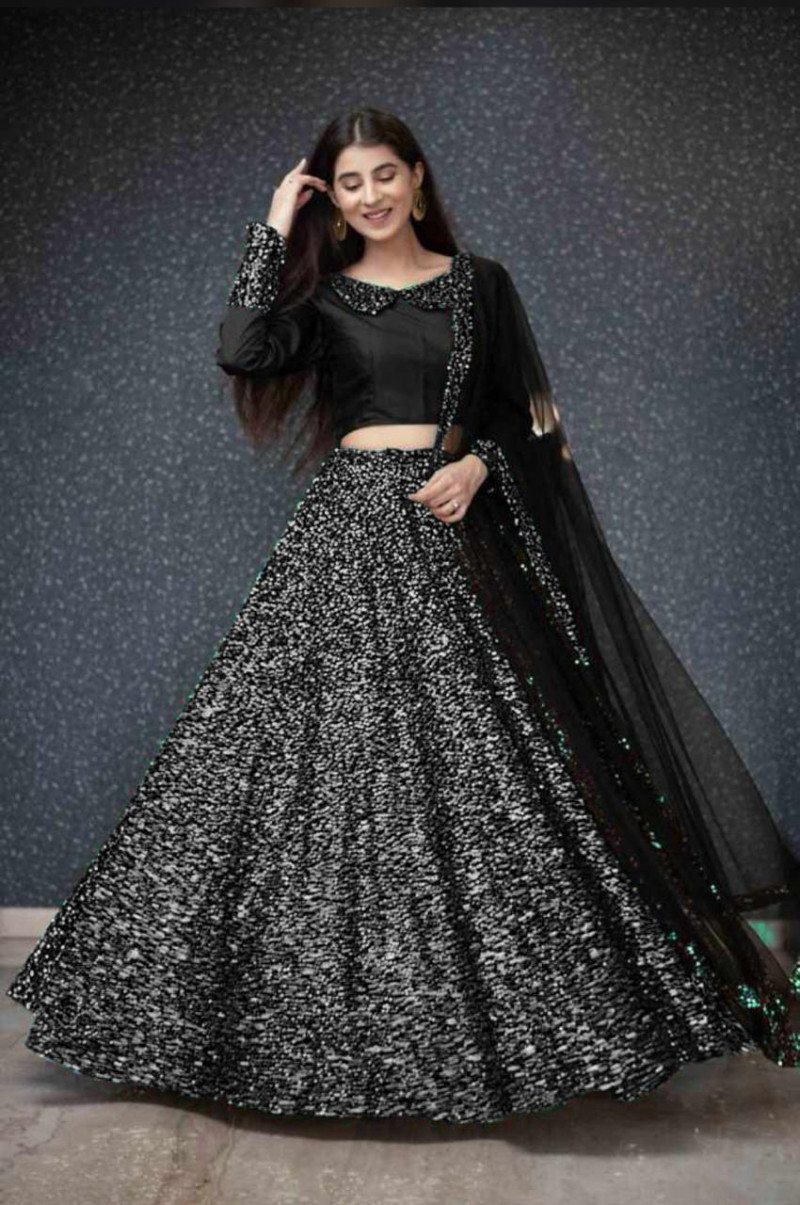 Tissue Net Dupatta Velvet Unstitched Choli With Blouse Velvet Fabric Heavy Sequance Embroidery Work Designer Lehenga With Can Can inner